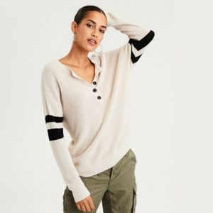 AE Cream Varsity Striped Henley Knit Sweater